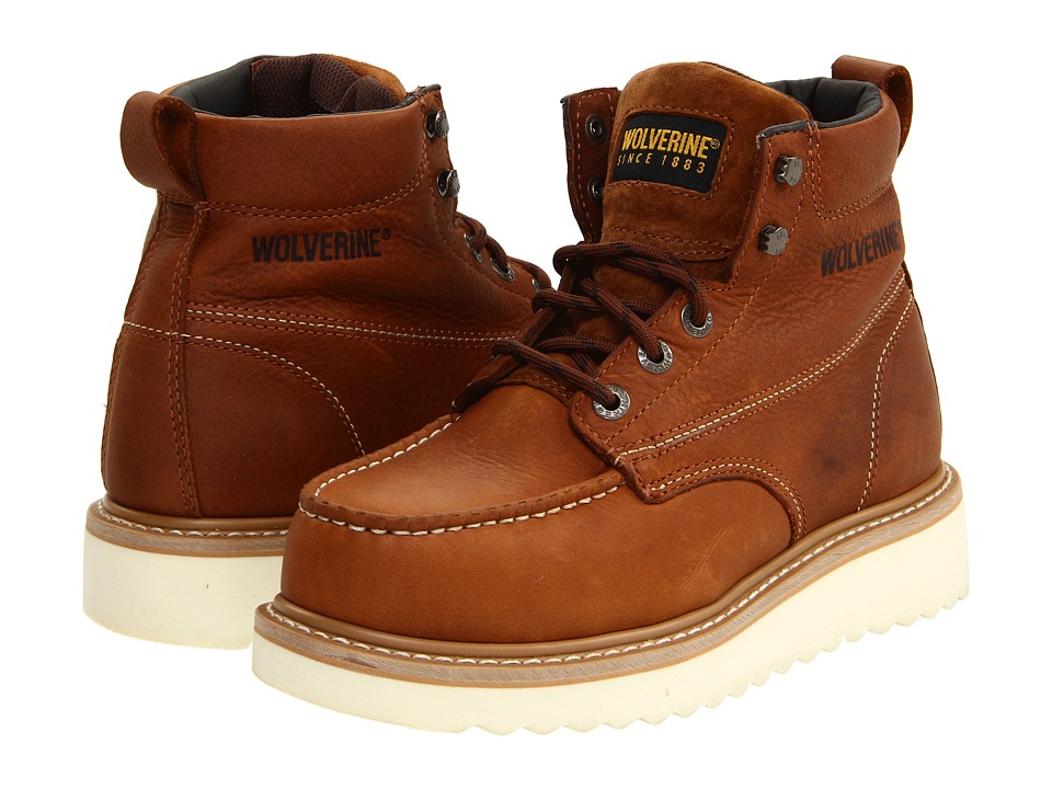 Wolverine Moc Toe Wedge Heel Steel Toe (Honey) Men's Work...