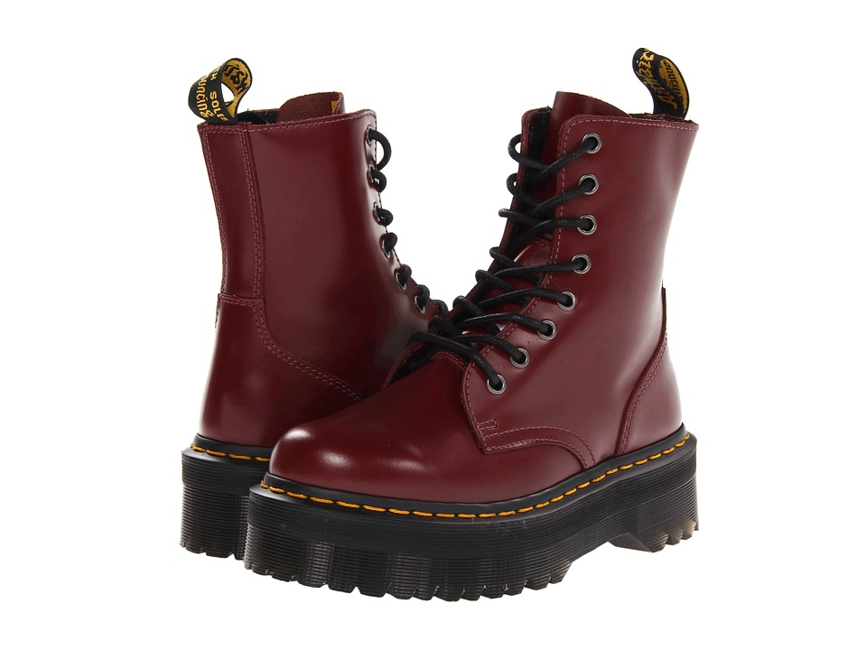 Dr. Martens Jadon 8 Eye Boot Cherry Red Polished Smooth Lace up Boots