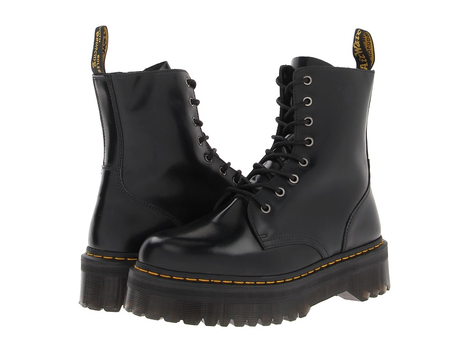 Dr. Martens Jadon 8 Eye Boot Black Polished Smooth Lace up Boots