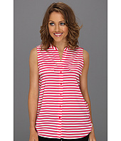 Calvin Klein - Stripe Mock Neck S/L Blouse