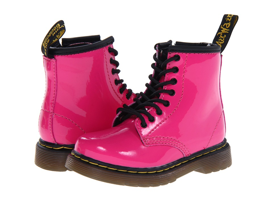 Dr. Martens Kids Collection Brooklee 8 Eye Lace Boot Toddler Hot Pink Patent Lamper Girls Shoes
