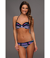 U.S. Polo Assn - Push Up Ruffled Bra Bikini with Multicolor Stripes and Embroidered Logo