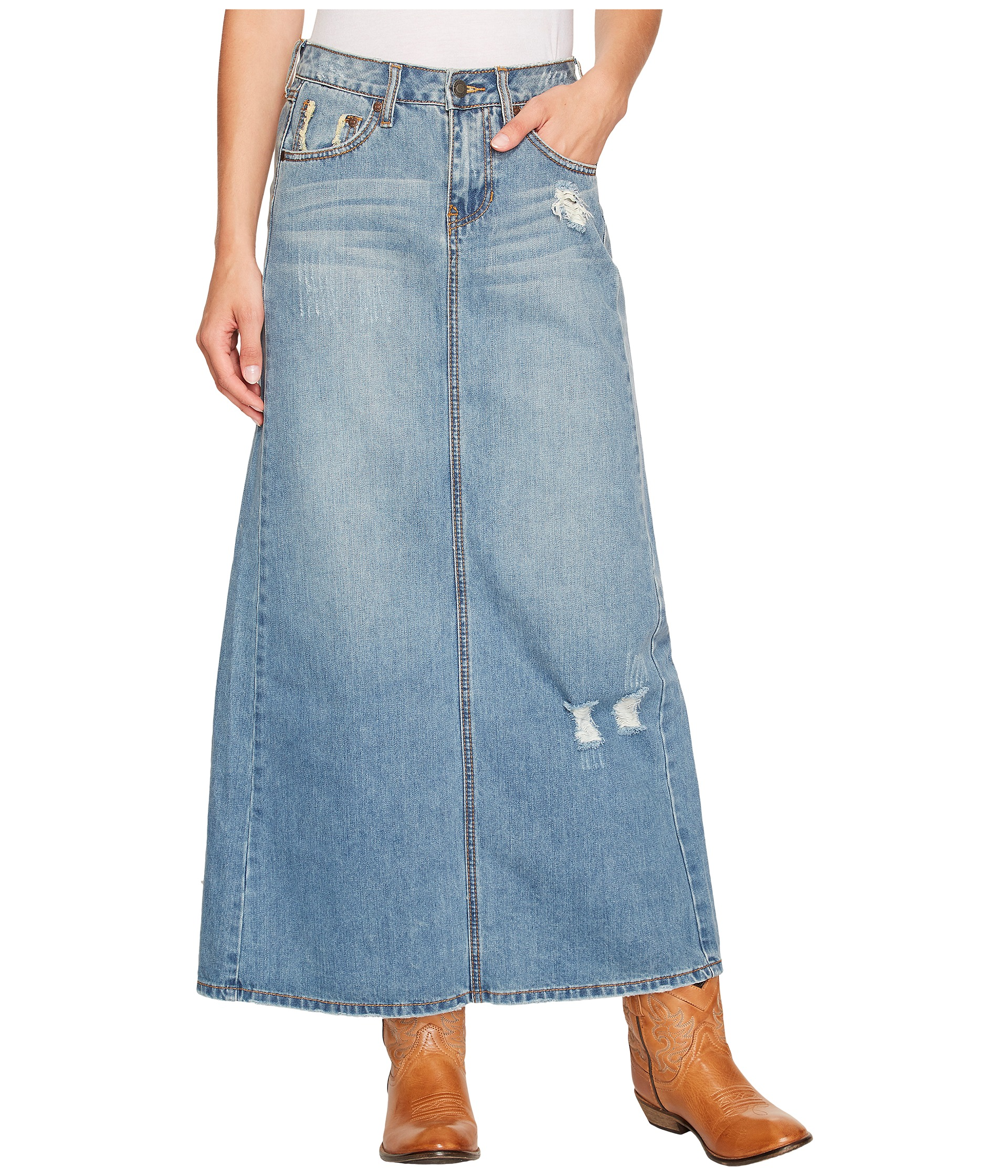 Stetson Long Denim Skirt w/ Back Slit - Zappos.com Free Shipping ...