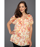Calvin Klein - Plus Size Abstract Floral Printed Peasant Top