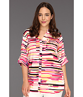 Calvin Klein - Plus Size Painterly Stripes Print Crew Roll Sleeve