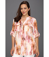 Calvin Klein - Plus Size Retro Skin Print Mock Roll Sleeve Blouse