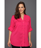 Calvin Klein - Plus Size Mock Neck Roll Sleeve Blouse