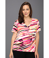 Calvin Klein - Plus Size Painterly Stripes Print V Neck w/ Hardware
