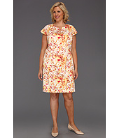 Calvin Klein - Plus Size Abstract Floral Cap Sleeve Dress w/ Hardware