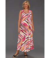 Calvin Klein - Plus Size Painterly Stripes Bias Cut Maxi Dress