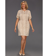 Calvin Klein - Plus Size Graphic Snake Elbow Sleeve Henley Dress