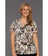 Calvin Klein - Plus Size Spotted Zebra Print V-Neck w/ Hardware