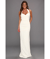Nicole Miller - Marilyn Solid Ruched Halter Gown