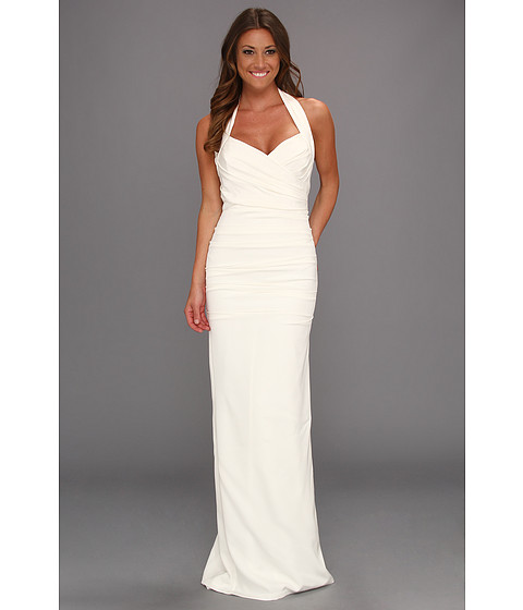 Shop Nicole Miller online and buy Nicole Miller Marilyn Solid Ruched Halter Gown Antique White Online - Nicole Miller - Marilyn Solid Ruched Halter Gown (Antique White) - Apparel: Walk toward your future in a dress that makes you feel like you're the only woman in the room. ; Satin ruched gown with a surplice bodice. ; Sweetheart neckline. ; Rubber grippers at bodice to hold you in place. ; Halter strap has three fabric-covered button closures. ; Concealed back zip closure. ; Fitted silhouette. ; Floor length. ; Trailing skirt with back godet. ; Lined. ; 94% silk, 6% spandex. ; Lining: 100% polyester. ; Dry clean only. ; Made in the U.S.A and Imported. Measurements: ; Length: 68 in ; Product measurements were taken using size 2. Please note that measurements may vary by size. ; Keep your clothing clean, in place, and in style with these products! Hollywood's best-kept Fashion Secrets: