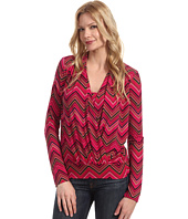 Anne Klein - Zig Zag Print Cowl Neck Top