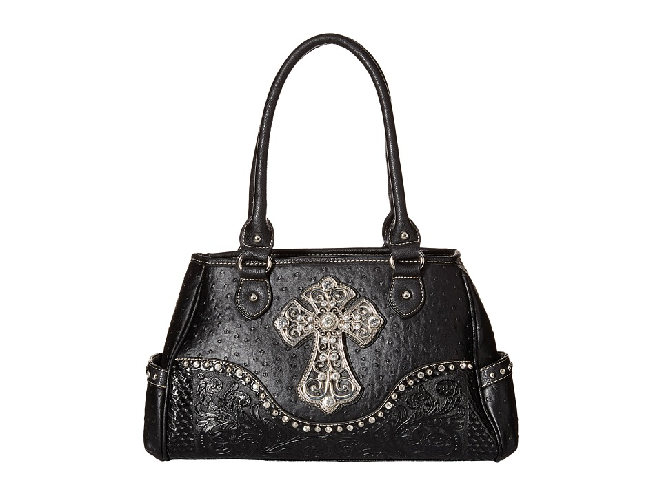 M&F Western - Ostrich Cross Satchel (Black) Satchel Handbags