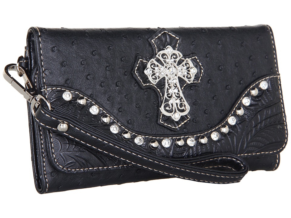 M&F Western - Ostrich Cross Wristlet Wallet (Black) Wallet Handbags