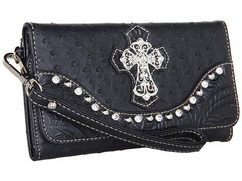 M&F Western Ostrich Cross Wristlet Wallet