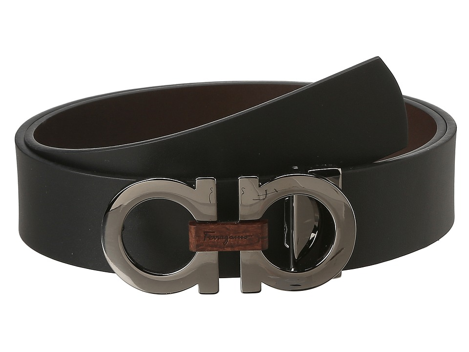 Salvatore Ferragamo Adjustable/Reversible Belt (Nero/Aubu...