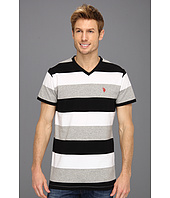 U.S. POLO ASSN. - Wide Striped V-Neck T-Shirt with Small Pony