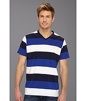 U.S. Polo Assn - Wide Striped V-Neck T-Shirt with Small Pony