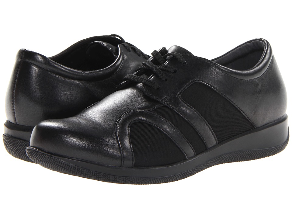 SoftWalk Topeka Black Burnished Soft Kid Leather/Stretch Womens Lace up casual Shoes