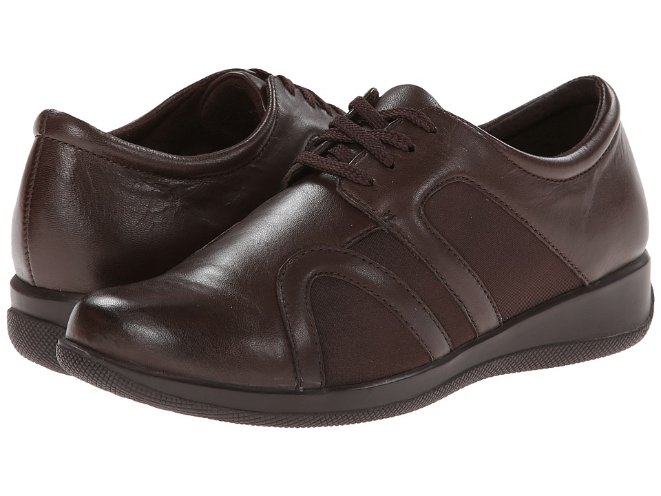 SoftWalk Topeka Dark Brown Burnished Soft Kid Leather/Stretch Womens Lace up casual Shoes