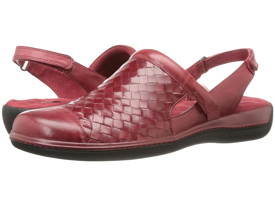 SoftWalk Salina Woven Dark Red Burnished Veg Kid Leather Womens Clog Shoes