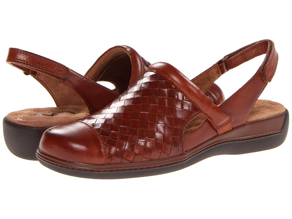 SoftWalk Salina Woven Rust Burnished Veg Kid Leather Womens Clog Shoes