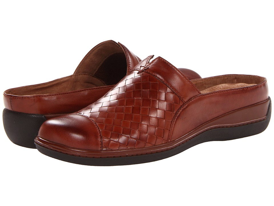 SoftWalk San Marcos Woven Rust Burnished Veg Kid Leather Womens Clog Shoes