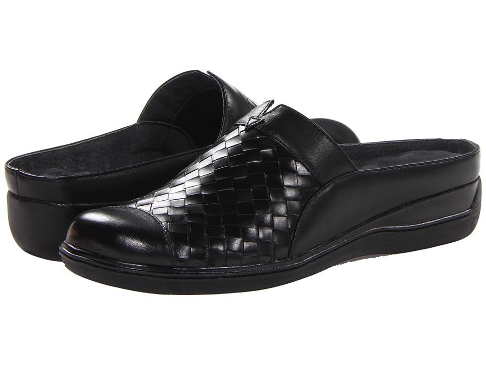 SoftWalk San Marcos Woven Black Burnished Veg Kid Leather Womens Clog Shoes