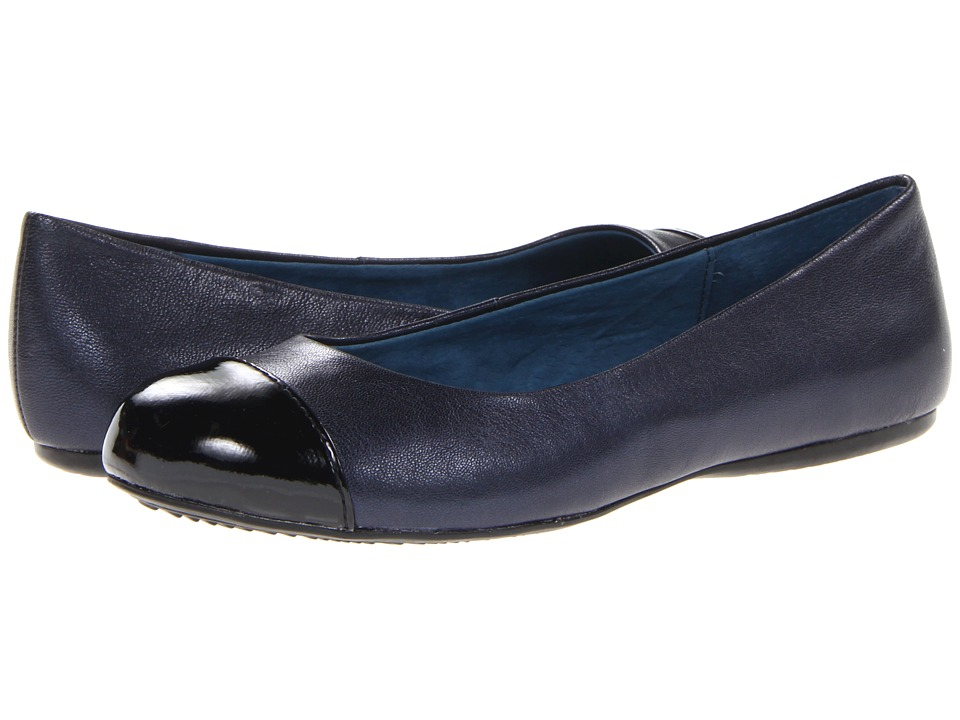 SoftWalk Napa Dark Blue Pearlized Leather/Black Patent Womens Flat Shoes