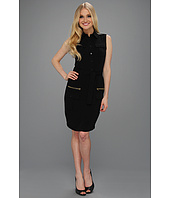 Calvin Klein - Sleeveless Career Shirt Dress w/ Zipper Pockets