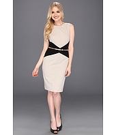 Calvin Klein - Sleeveless Belted Colorblock Career Sheath