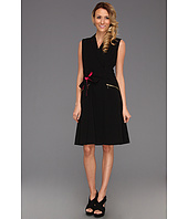 Calvin Klein - S/L Fit & Flare w/ Tie Waist Dress