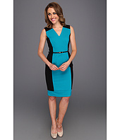 Calvin Klein - V-Neck Belted Colorblock Sheath Dress