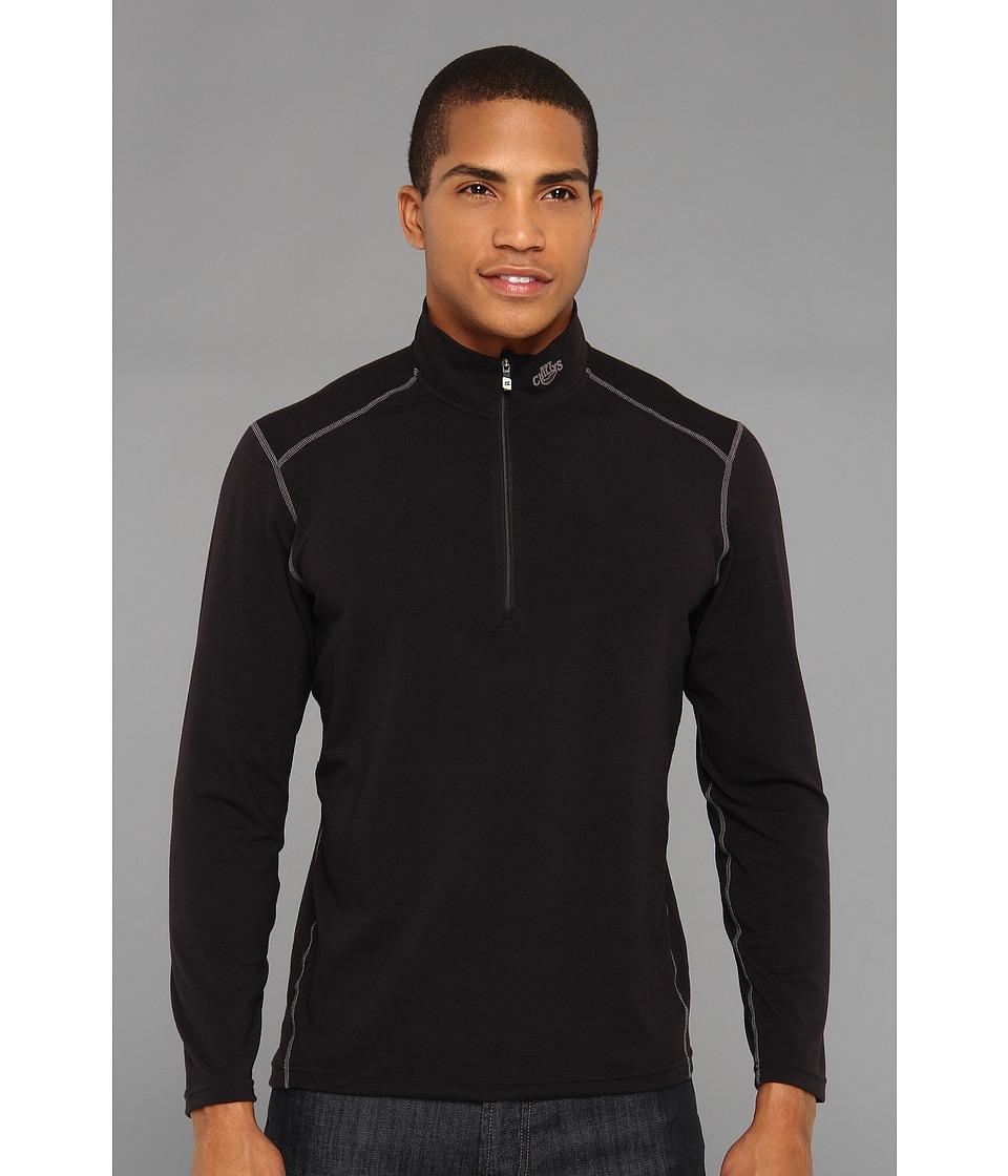 Hot Chillys MTF4000 Zip T Black Mens Clothing