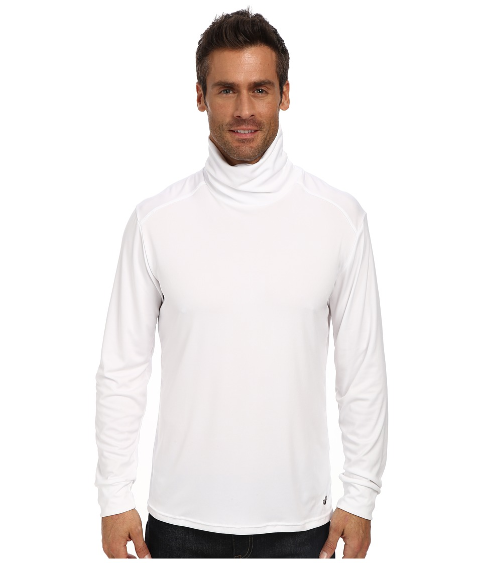Hot Chillys Peach Solid Roll T Neck White Mens Long Sleeve Pullover