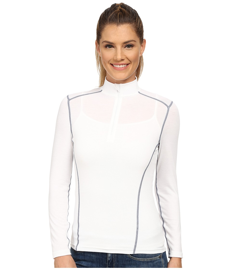 Hot Chillys MTF 4000 Zip T White Womens Long Sleeve Pullover