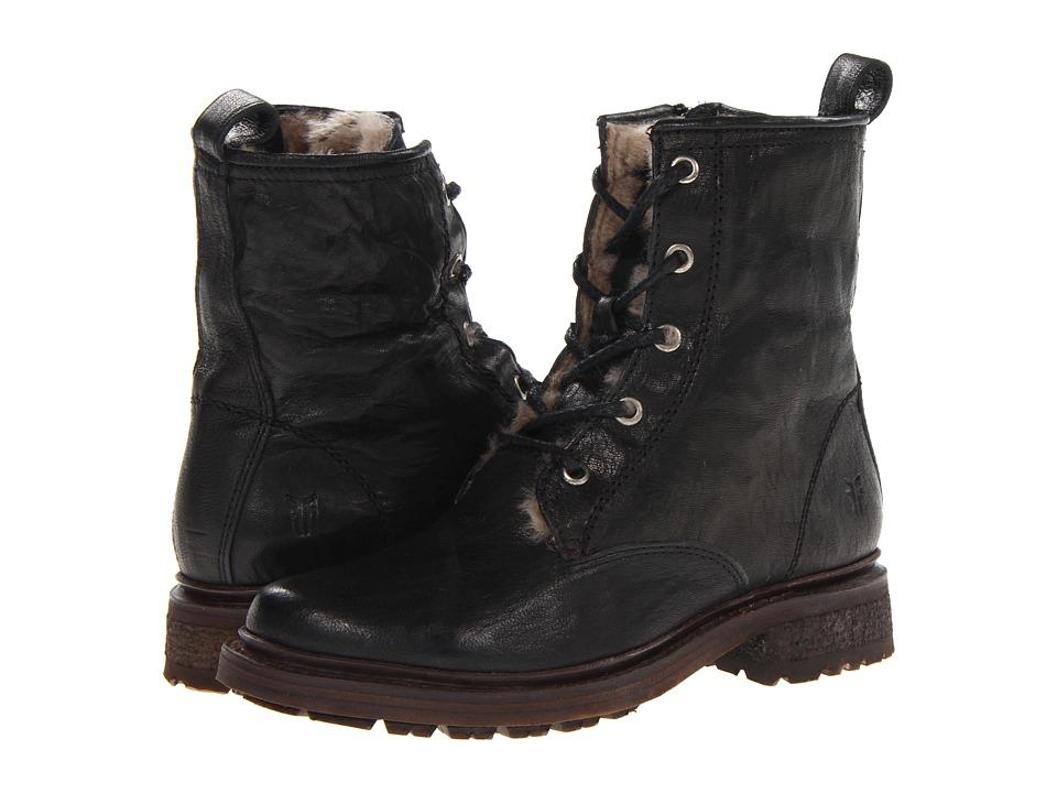Frye - Valerie Lace Up (Black Antique Soft Vintage/Shearling) Cowboy Boots