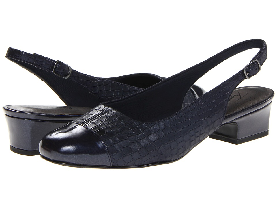 Trotters Dea (Dark Blue Metallic Croco Leather) Women