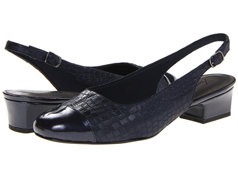 Trotters Dea - Dark Blue Metallic Croco Leather