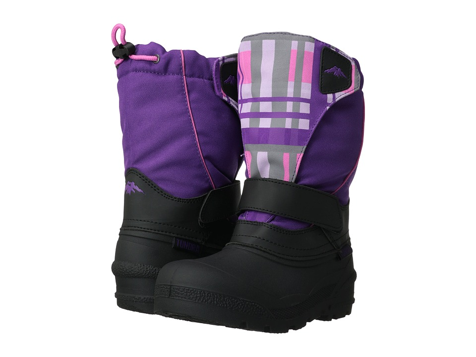 Tundra Boots Kids Quebec (Toddler/Little Kid/Big Kid) (Black/Purple Plaid) Girls Shoes