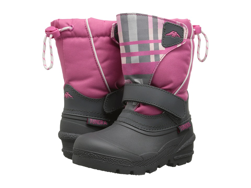 Tundra Boots Kids Quebec (Toddler/Little Kid/Big Kid) (Charcoal/Fuchsia Plaid) Girls Shoes