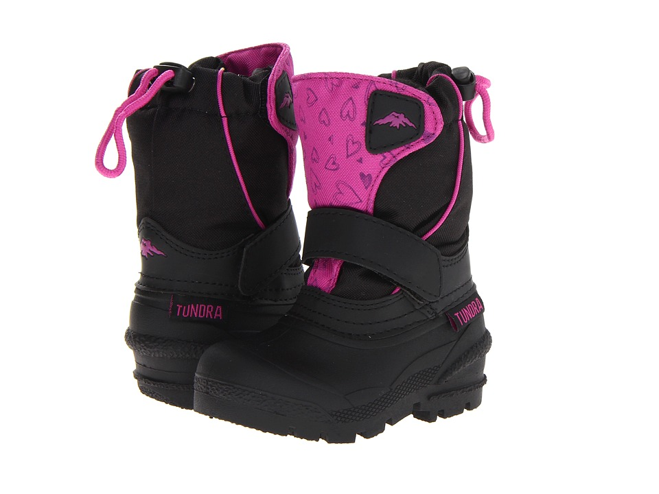 Tundra Boots Kids Quebec (Toddler/Little Kid/Big Kid) (Black/Fuschia/Hearts) Girls Shoes