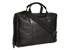 Cole Haan - Greenwich Zip Around Brief (Black Grain) - Bags and Luggage