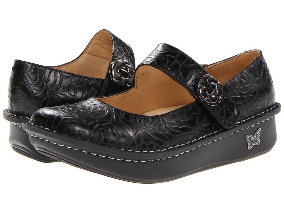 Alegria Paloma (Black Embossed Rose) Maryjane Shoes
