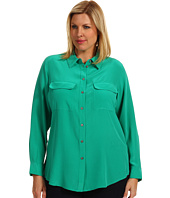 TWO by Vince Camuto - Plus Size L/S Silk Utility Shirt