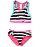 Jessica Simpson Kids - Black and White Striped 2-Piece Tankini w/ Boyshort (Big Kids)