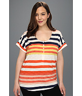 TWO by Vince Camuto - Plus Size S/S Stripe Henley